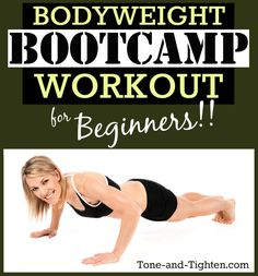 30 Minute Beginner Bodyweight Bootcamp Workout bodyweight bootcamp workout for beginners video tone and tighten Workout Guide, Workout Videos, Workout Bodyweight, Fitness Tips, Fitness Motivation, Health Fitness, Body Weight, Weight Loss, Weight Gain
