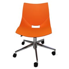 Color: Orange Shell chairs by Italian designer Angelo Pinaffo have a unique and elegant design. With casters and adjustable height, they're perfect for offices or any setting where people need to roll occasionally. Eight designer colors from beige to bold orange make these the perfect chairs for any decor. Shell chairs fit as well in a home office as they do in a professional office environment.The shells are designed for superior strength in the seams where other chairs tend to break down.