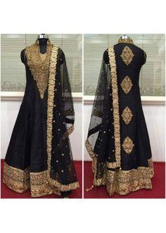 Bollywood Inspired - Wedding Wear Black Raw Silk Anarkali Suit - 9028B