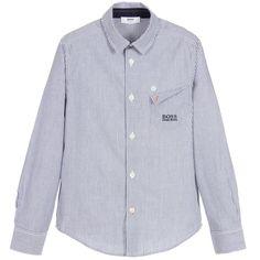 7e50eca4 BOSS Boys Blue & White Stripe Shirt Orange Polo Shirt, Orange Logo, Boss  Baby