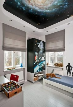 Einrichten Kinderzimmer Junge Weltall Motto Deckengestaltung