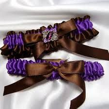 Chocolate Brown And Purple Haze Bridal Garter Set Toss Included