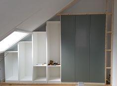 Ikea Wardrobe, Attic Wardrobe, Built In Wardrobe, Attic Bedroom Storage, Attic Rooms, Closet Bedroom, Slanted Ceiling Closet, Sloped Ceiling Bedroom, Loft Conversion Bedroom