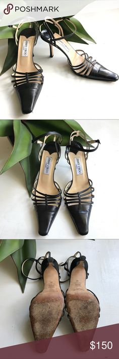 """Jimmy Choo Leather Caged Ankle Strap Heels Sexy black leather heels from Jimmy Choo. Strappy adjustable ankle straps, caged pointed toe,  slingback. Leather upper and sole. Approx 3.5"""" heel. Size 38 = about a size 8. Fits slightly smaller, more like a 7-7.5. Good condition, but some wear (see pics) Jimmy Choo Shoes Heels"""