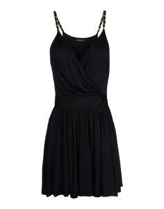 NWT BALMAIN BLACK FITTED WRAP STYLE DRESS WITH METAL CHAIN STRAPS FR38.42.44