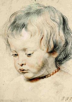 "Fig.1 Peer Paul Rubens.Portrait of his son Nicholas, c. 1620 --  ""when the great Flemish painter Rubens made a drawing of his little boy, he was surely proud of his good looks."""