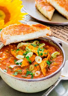 Red Lentil and Chicken Soup - a hearty and delicious soup loaded with lentils and chicken, cumin and smoked paprika, a perfect comfort soup for a cold fall or winter night.