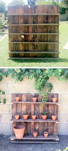 wooden pallet turned plant display! Using chalkboard paint to paint the pots with the names of herbs that we'll be using