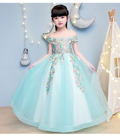 Elegant Girls Shoulderless Wedding Dress Lace Appliques Party Tulle Princess Birthday Dress First Communion Gown for Girls