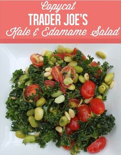 Healthy kale and tomato salad with edamame from Trader Joe's.