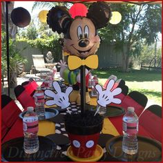 Table centerpiece for Mickey Mouse inspired birthday party! By Distinctive Party Designs. Minnie Y Mickey Mouse, Fiesta Mickey Mouse, Mickey Mouse Photos, Mickey Mouse Baby Shower, Mickey Mouse Clubhouse Birthday Party, Mickey Mouse Parties, Mickey Birthday, Mickey Party, 2nd Birthday