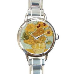Personalized Watch Sunflower by Vincent Van Gogh Oil Paintings Round Italian Charm stainless steel Watch -- Special  product just for you. See it now! : Travel Gadgets