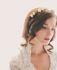 Wedding flower crown White Bridal hair accessory by whichgoose