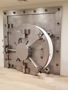 Custom Vintage-Look Industrial Round Bank Vault Door – - Modern Nightclub Design, Panic Rooms, Vault Doors, Door Picture, Gun Rooms, Banks Vault, Private Dining Room, Cool Doors, Simple Furniture