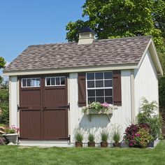 Little Cottage 12 x 10 ft. Pinehurst Colonial Panelized Garden Shed | from hayneedle.com