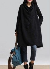 Black Cowl Neck Long Sleeve Dress on sale only US$25.43 now, buy cheap Black Cowl Neck Long Sleeve Dress at lulugal.com