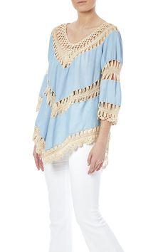 Light blue crochet detail top with of an asymmetrical bottom hem.  Blue Crochet Top by Umgee USA. Clothing - Tops - Blouses & Shirts Dallas Texas Texas