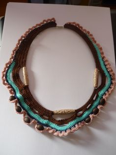 crochet necklace in browns and turquoise with beads