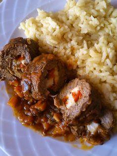 Μοσχαρίσια ρολάκια με χαλούμι Cyprus Food, Happy Foods, Greek Recipes, Recipies, Pork, Beef, Desserts, Chef Recipes, Kochen
