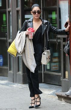 City girl: Vanessa was spotted looking chic in a black jumpsuit on an outing in New York o...