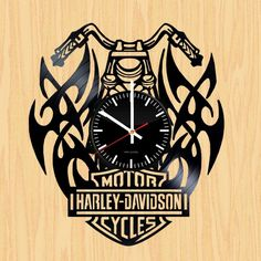 Harley-Davidson Handmade Vinyl Record Wall Clock Fan Gift - VINYL CLOCKS Harley Davidson Merchandise, Harley Davidson Gifts, Record Clock, Record Wall, Drawing Stencils, Wood Carving Designs, Harley Davison, How To Make Wall Clock, Vinyl Gifts