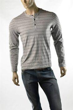Armani Exchange Shirt A/X Men's Pima Cotton Henley Stripe L/S T Shirts Sz M NWT #AXArmaniExchange #Henley