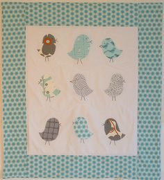 baby blanket, fleece baby blanket, applique crib quilt, stroller blanket, nursery wall decor, birds in gray and blue. $68.00, via Etsy.