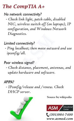 CompTIA A+ Training / Tip - .For more information to get certified for Microsoft, CompTIA A+, Network+, Security+ and Cisco CCNA, CCNP  Please Check out :http://www.asmed.com/information-technology-it/