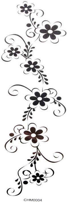Cool Waterproof tattoo sticker black flowers (waist / chest / back / hand / leg, etc.)
