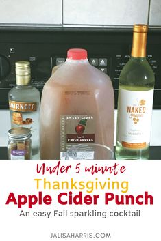 Thanksgiving Apple Cider Punch An under 5 minute sparkling cocktail that includes moscato, vodka, cinnamon and more. Fall Drinks, Holiday Drinks, Party Drinks, Cocktail Drinks, Cocktail Recipes, Alcoholic Drinks, Cocktails, Holiday Dinner, Thanksgiving Recipes