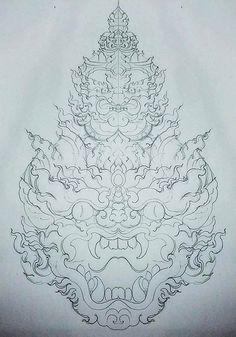 #เเบบสักลาย () Red Ink Tattoos, Asian Tattoos, Time Tattoos, Body Art Tattoos, Tattoo Drawings, Sleeve Tattoos, Khmer Tattoo, Thai Tattoo, Cambodian Art