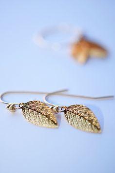 Gold leaf earrings, simple gold earrings, minimal gold earrings, A personal favorite from my Etsy shop https://www.etsy.com/listing/235416699/minimalist-earringssimple-gold