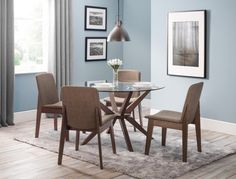 A truly stunning circular dining set featuring an elegantly styled solid Beech base in Walnut finish, topped with a substantial tempered glass top and ergonomical fabric upholstered Kensignton chairs to create an exquisite contemporary piece that will take pride of place in any home.  http://www.furn-on.com/chelsea-glass-dining-set.html