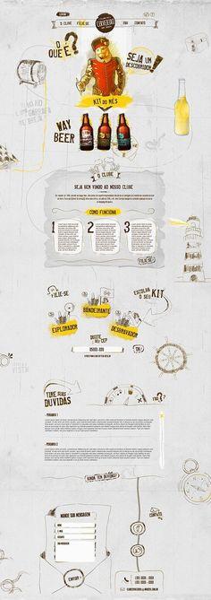 Site Clube Cervejeiro. Beautiful, sketchy, hand-drawn website. #webdesign #design (View more at www.aldenchong.com)