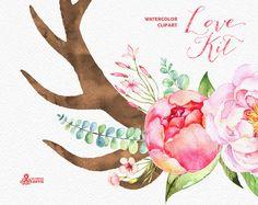 Liebe Kit. Aquarelle Blumen Clipart Pfingstrosen Pfeile
