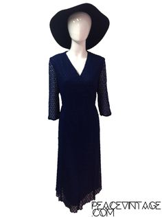 Vintage 70s wrap dress midnight blue crochet lace by Peacevintageshop on Etsy