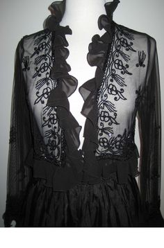 581a991de78 Black Tie Formal Beaded jacket with ruffles along the neck