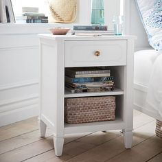 Thoughtfully crafted to keep your essentials organized and at-hand, this piece will complete your bedside. It provides plenty of chic and spacious storage. Metal Nightstand, White Nightstand, Nightstands, Refurbished Night Stand, Minimalist Nightstand, White End Tables, Dream Bedroom, Master Bedroom, Engineered Wood