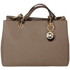 MICHAEL KORS Womens Cream Cynthia Saffiano Leather Mid Satchel (1.200 BRL) ❤ liked on Polyvore featuring bags, handbags, purses, bolsas, borse, brown purse, michael kors satchel, michael kors, brown satchel purse and michael kors handbags