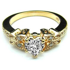 Engagement Ring - Heart Shape Diamond Butterfly Vintage Engagement... ($870) ❤ liked on Polyvore