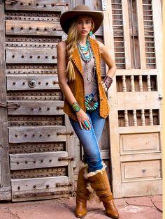 Sueded Vest ❤ Cowgirls Fashions Western Style Pendulum on Braided 6 strand