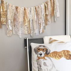 Rustic Glam  Silver & Gold Sequin Fabric Banner  by ohMYcharley