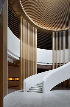 Expansion Project Of China National Silk Museum / Gold Mantis Rooms Decoration, Decoration Design, Lobby Interior, Interior Stairs, Modern Interior Design, Contemporary Design, Plafond Design, Entry Way Design, Lobby Design