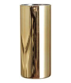 Gull. En sylinderformet vase i glass med malt utside. Diameter 7,5 cm, høyde 18 cm.