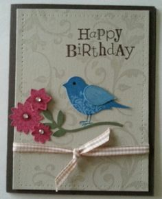 Flowering Flourishes and the bird builder punch from Stampin up.