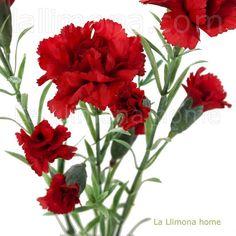 Rama de clavellinas artificiales de color rojo. http://www.lallimona.com/online/flores-y-plantas-artificiales/