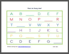 What's the Missing Letter Pre-K/K free printable from Mama's Learning Corner