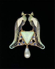Pendant  René Jules Lalique  (French, Aÿ 1860–1945 Paris)    Date:      ca. 1901  Culture:      French (Paris)  Medium:      Gold, enamel, opal, pearl, diamonds  Dimensions:      3 x 2-3/8 in. (7.6 x 6.0 cm)