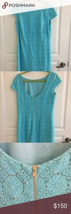 Lilly Pulitzer Barbara dress Light blue, lace embroidered cap sleeve shift dress. Boat neck, with silk slip and detailed embroidery, perfect for a wedding or nice occasion. Worn once. Lilly Pulitzer Dresses Midi