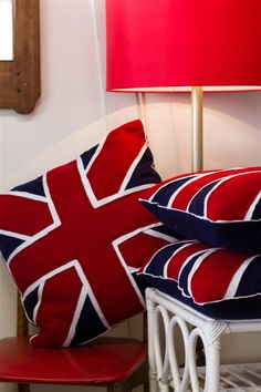 Union Jack cushions made of felt (R750) available @ HOME AFFAIRS mid century FURNITURE 0214473427